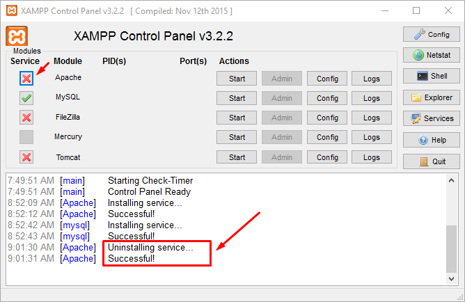 Uninstall Apache Service di WIndows Dengan XAMPP