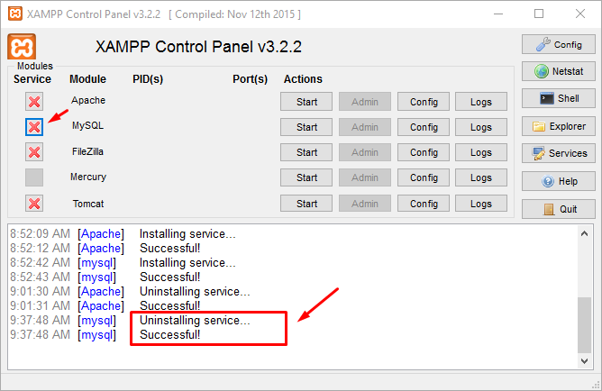 Uninstall MySQL Service di Windows Dengan XAMPP