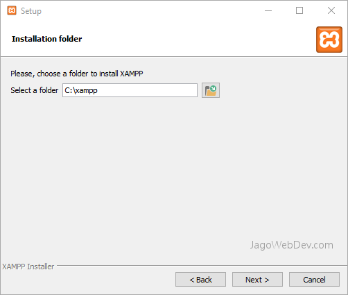 Install XAMPP di Windows - Pilih Folder Instalasi