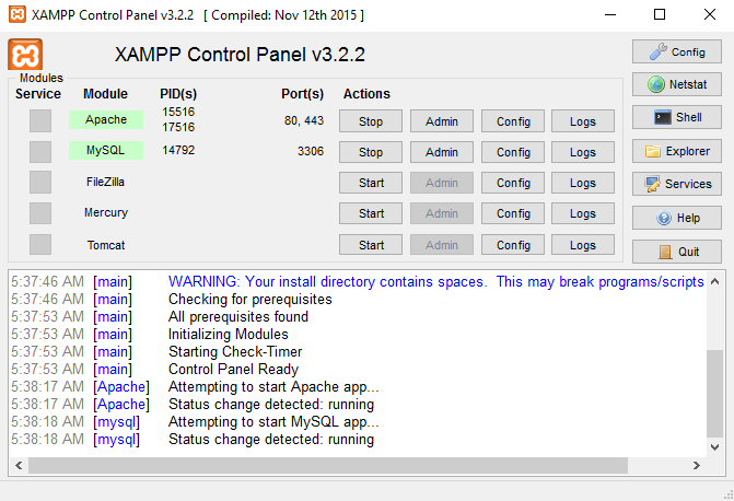 Cara Menjalankan XAMPP di Windows - XAMPP Control Panel