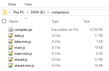 Hasil Kompres Banyak File Javascript Dengan Closure Compiler