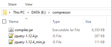 Hasil Kompres File Javascript Dengan Closure Compiler Standard