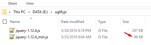 Hasil Kompres File Javascript Dengan UglifyJs - Mangle