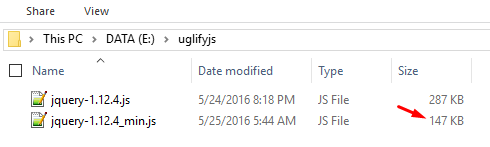 Hasil Kompres File Javascript Dengan UglifyJs