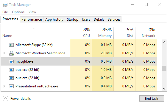 MySQL Server Pada Task Manager