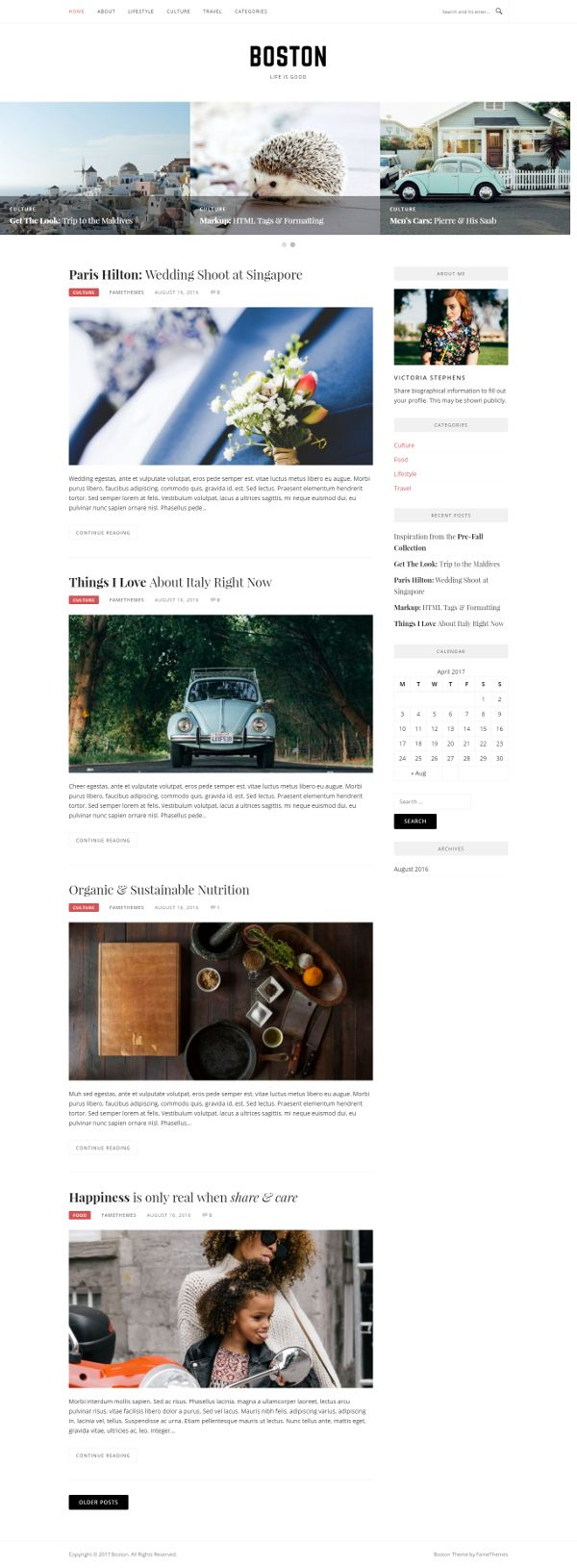 Boston - Theme WordPress Gratis Untuk Blog