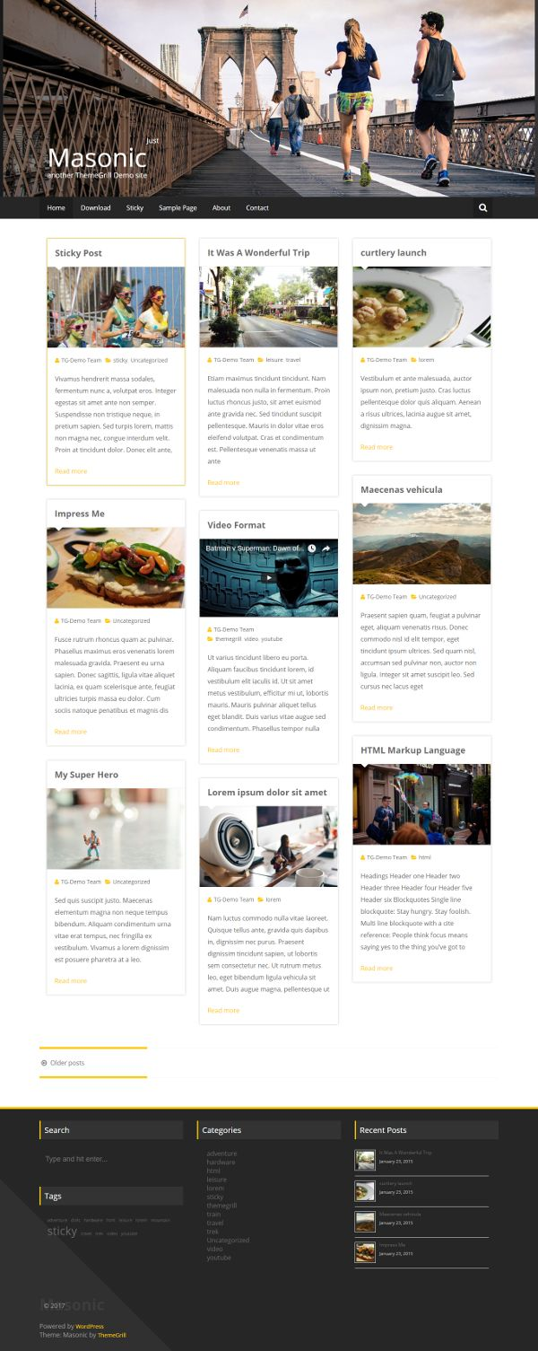 Masonic - Theme WordPress Gratis Untuk Blog