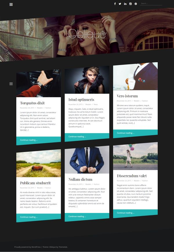 Oblique - Theme WordPress Gratis Untuk Blog