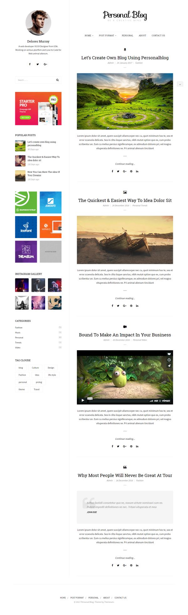 Personal Blog - Theme WordPress Gratis Untuk Blog
