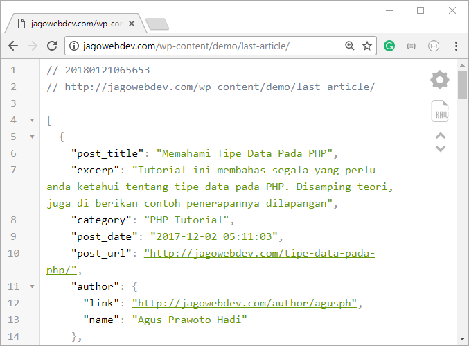 JSON Tree Dengan Add On Browser Google Chrome