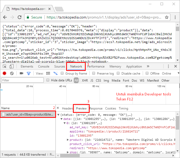 JSON Tree Pada Browser Google Chrome