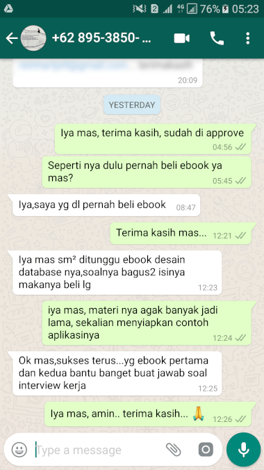 Testimoni Ebook Query MySQL - Membantu Interview Kerja