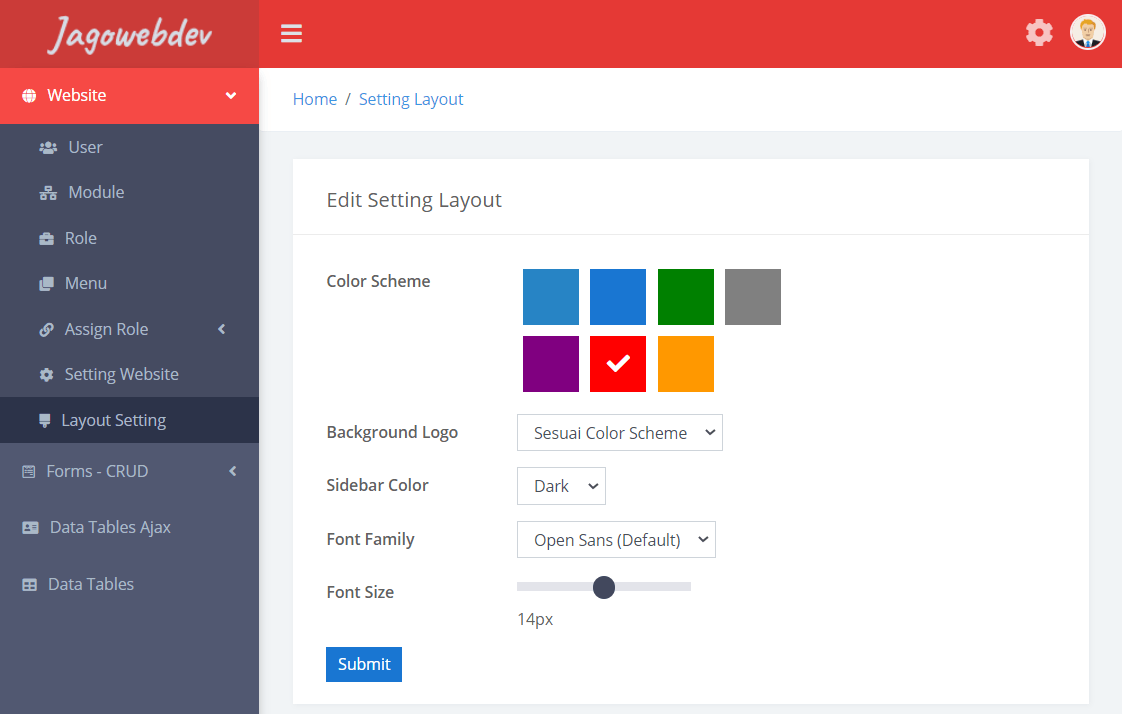 Setting Layout - Admin Template Dashboard Codeigniter 4